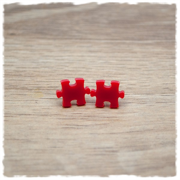 1 Paar Ohrstecker 10 mm Puzzleteil rot