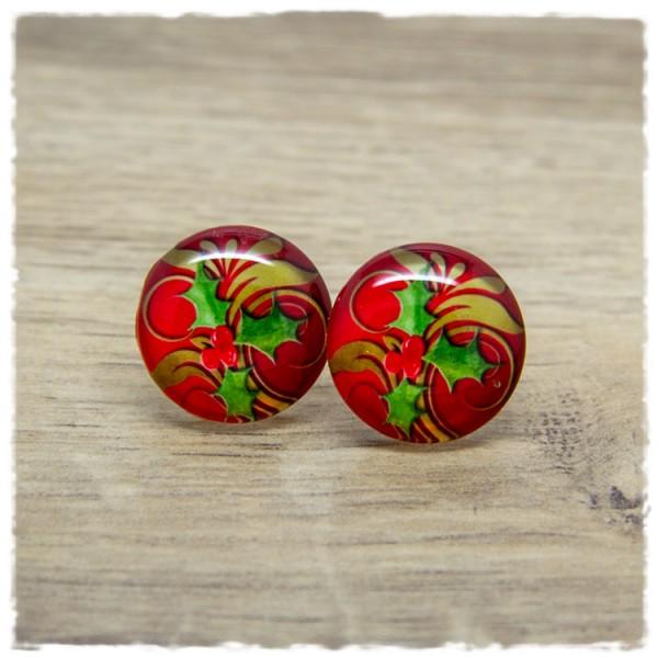 1 Paar Ohrstecker in 20 mm rot mit winterlichem Muster