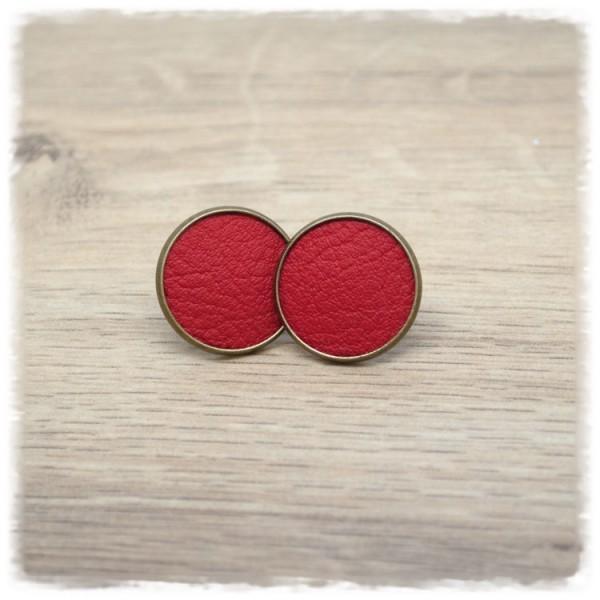 1 Paar Lederohrstecker rot mit bronzener Fassung