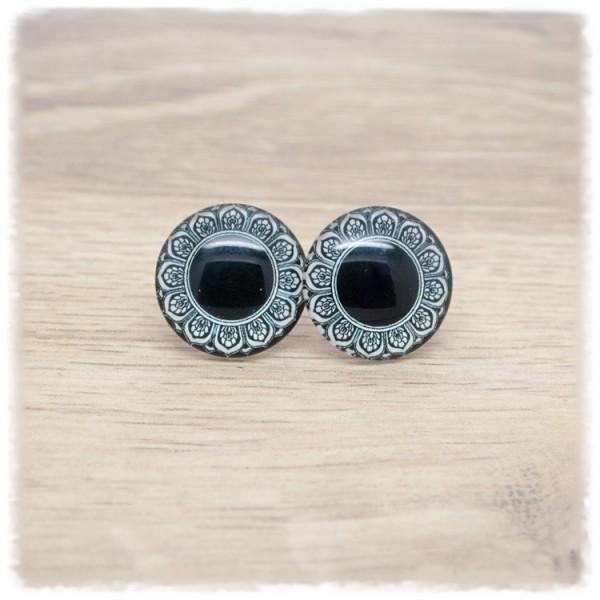 1 Paar Ohrstecker in 20 mm schwarz mit Mandala