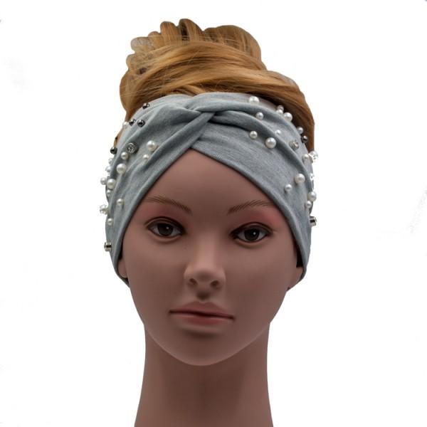 Stirnband grau mit Perlenapplikation