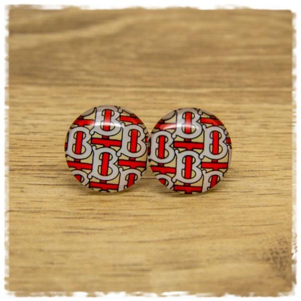 1 Paar Ohrstecker beige mit rot weißem Muster