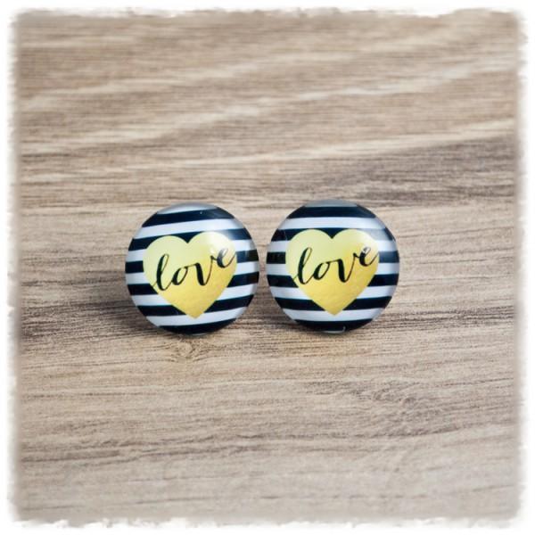 1 Paar Ohrstecker in 20 mm schwarz gestreift mit gelbem Herz und LOVE (wahlweise als Ohrclips)