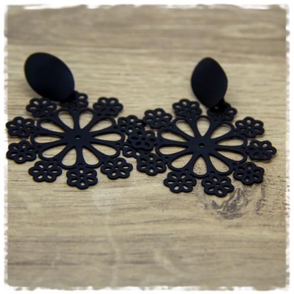 1 Paar Ohrhänger in 45 mm matt schwarz Blüte