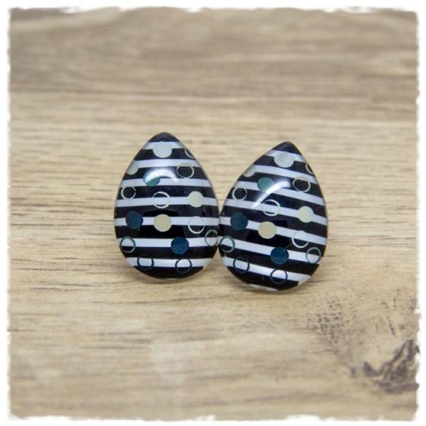 1 Paar große Ohrstecker in Tropfenform schwarz weiß gestreift mit Punkten