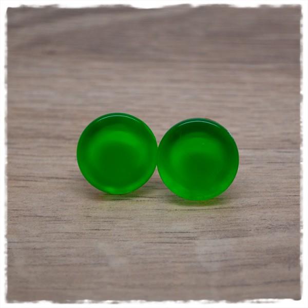 1 Paar Ohrstecker 18 mm flach Neon grün