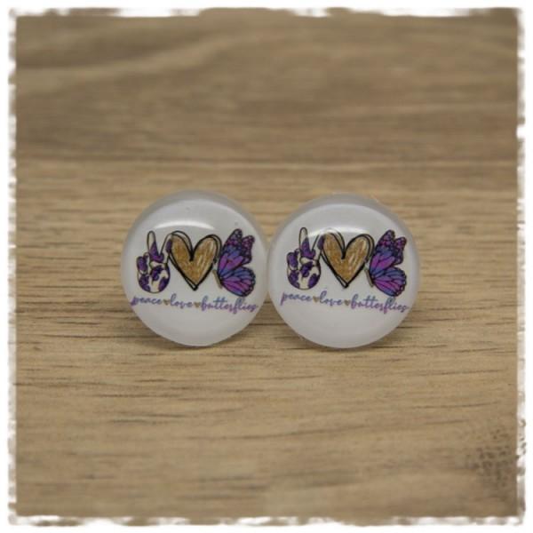 1 Paar Ohrstecker mit Fingern, Herz und Schmetterling