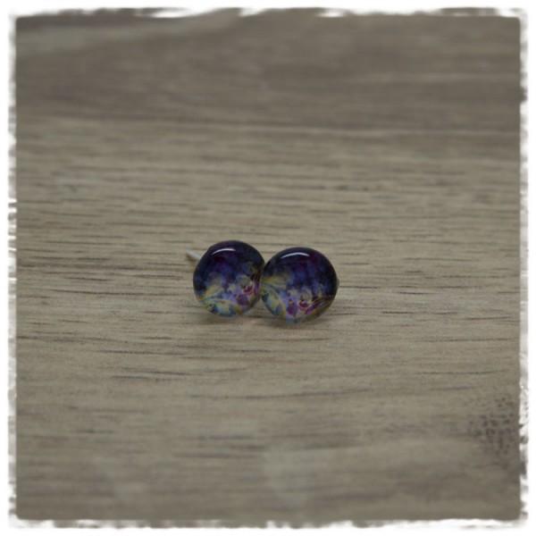 1 Paar Ohrstecker in 10 mm dunkelblau gold gemustert