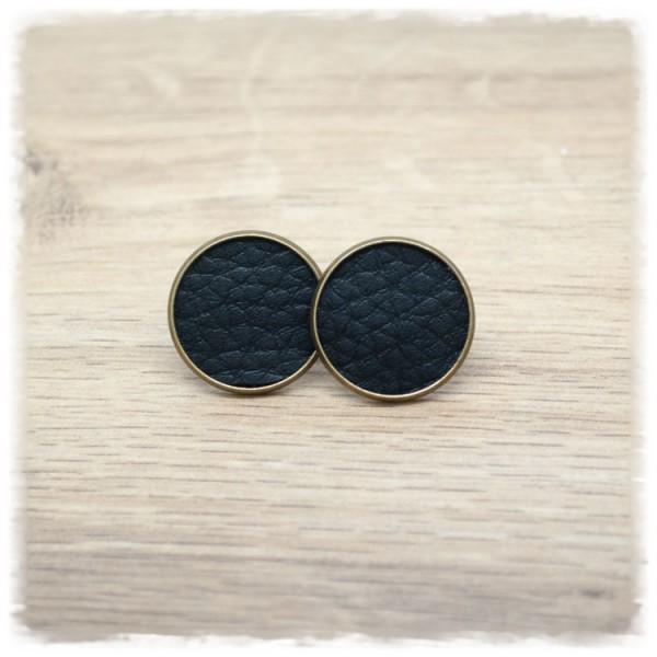 1 Paar Lederohrstecker schwarz mit bronzener Fassung