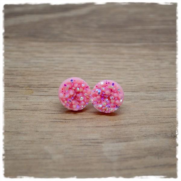 1 Paar Ohrstecker in 12 mm rosa Glitzer