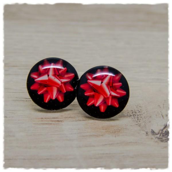1 Paar Ohrstecker in 20 mm mit roter Geschenkschleife
