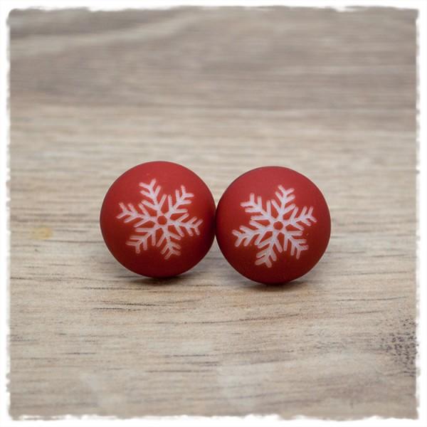 1 Paar Ohrstecker 18 mm rot matt mit Schneeflocke