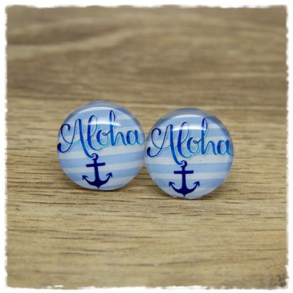 1 Paar Ohrstecker mit Anker und Aloha auf blauen und weißen Streifen