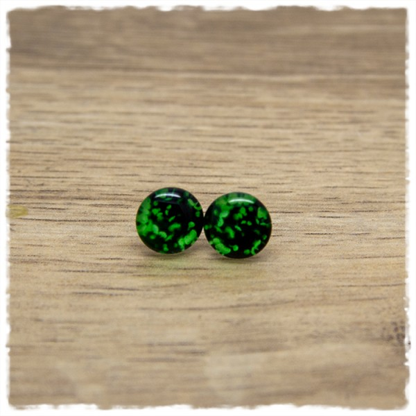 1 Paar Ohrstecker in 10 mm grün schwarz gemustert