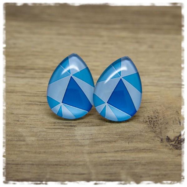 1 Paar große Ohrstecker in Tropfenform blau gemustert