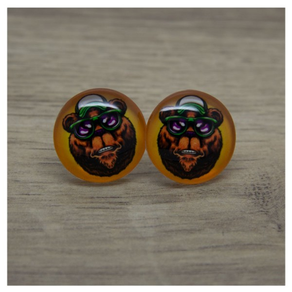 1 Paar Ohrstecker in 20 mm Bär mit Brille