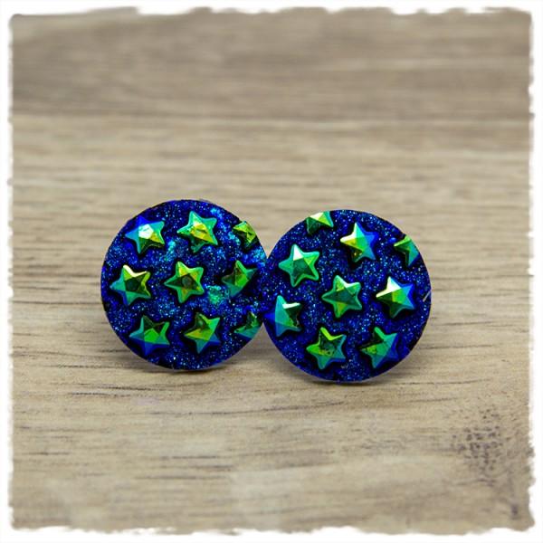 1 Paar Ohrstecker in 20 mm dunkelblau mit Sternen