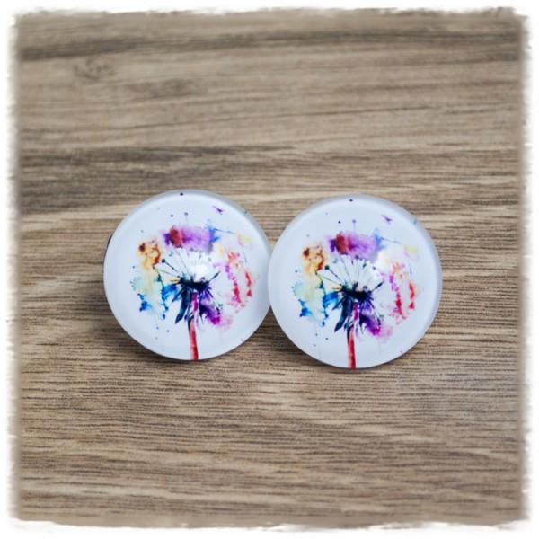 1 Paar Ohrstecker in 25 mm mit bunten Pusteblumen (wahlweise als Ohrclips)