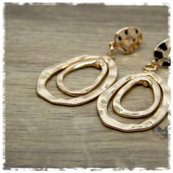 1 Paar Ohrhänger in 35 mm doppelte Tropfenform golden