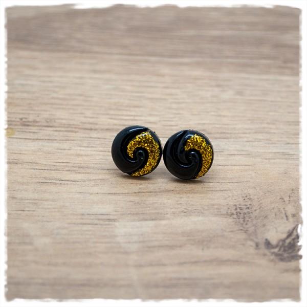 1 Paar Ohrstecker in 12 mm schwarz mit gold