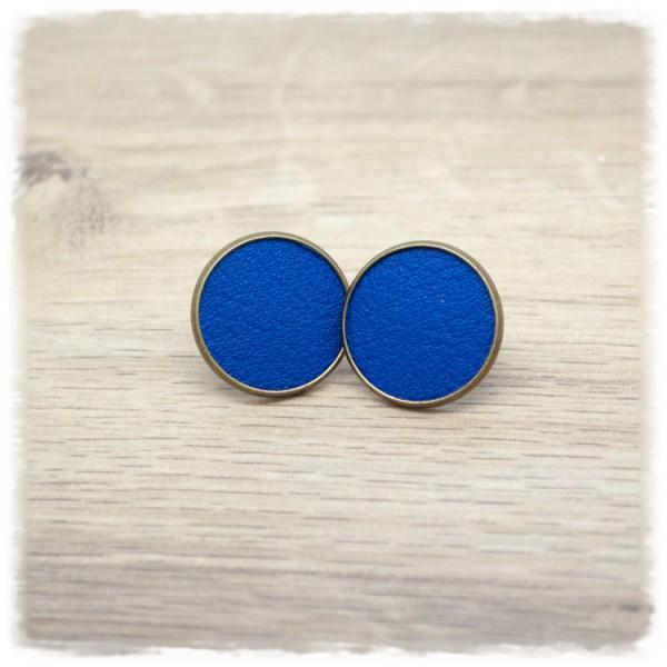 1 Paar Lederohrstecker blau mit bronzener Fassung