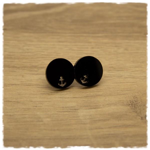 1 Paar flache Ohrstecker in 16 mm schwarz mit Ankerausschnitt