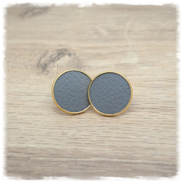1 Paar Lederohrstecker grau mit goldener Fassung