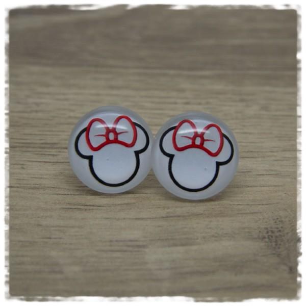 1 Paar Ohrstecker Maus mit roter Schleife