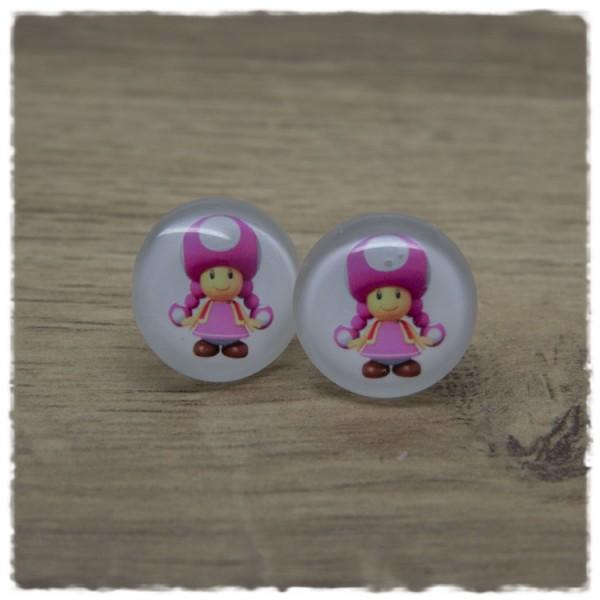 1 Paar Ohrstecker mit pinkem Pilzmädchen