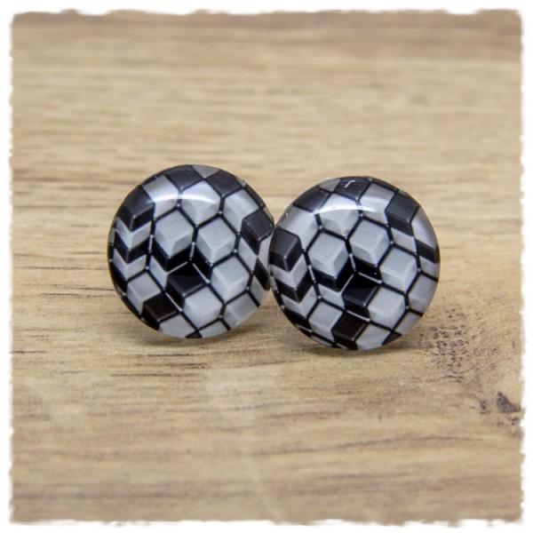 1 Paar Ohrstecker mit schwarzen und weißen Würfeln
