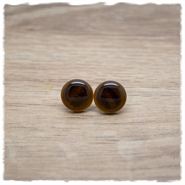 1 Paar Ohrstecker in 12 mm einfarbig braun