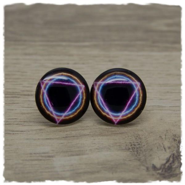 1 Paar Ohrstecker in 20 mm mit leuchtendem Dreieck und Ringen