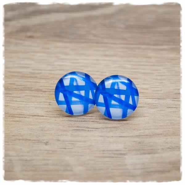1 Paar Ohrstecker in 16 mm mit blauen Strichen