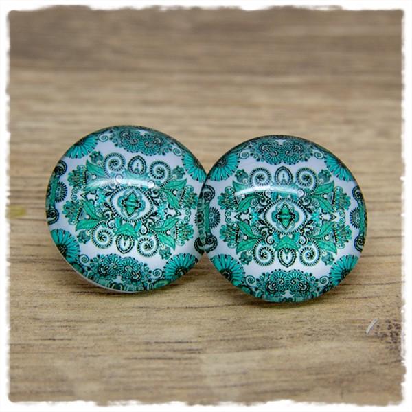1 Paar Ohrstecker in 25 mm mit grünem Muster