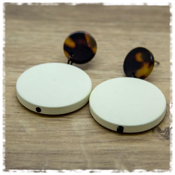 1 Paar Ohrhänger 30 mm in beige und braun marmoriert