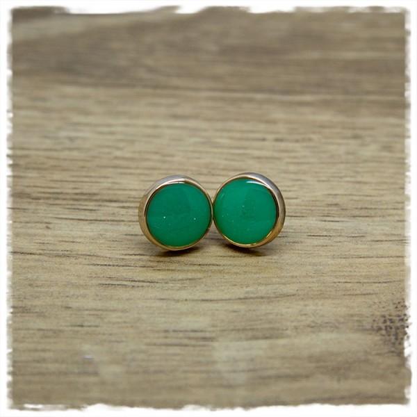 1 Paar Ohrstecker in 12 mm grün mit Rand in rosegold