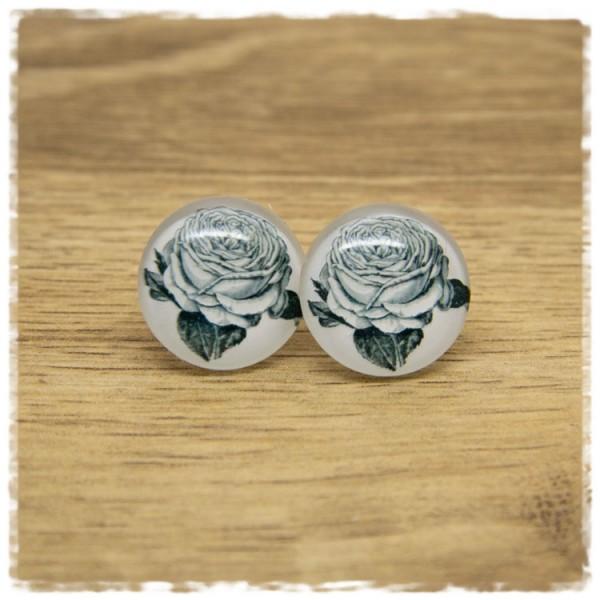 1 Paar Ohrstecker mit gezeichneter Rose auf weißem Hintergrund
