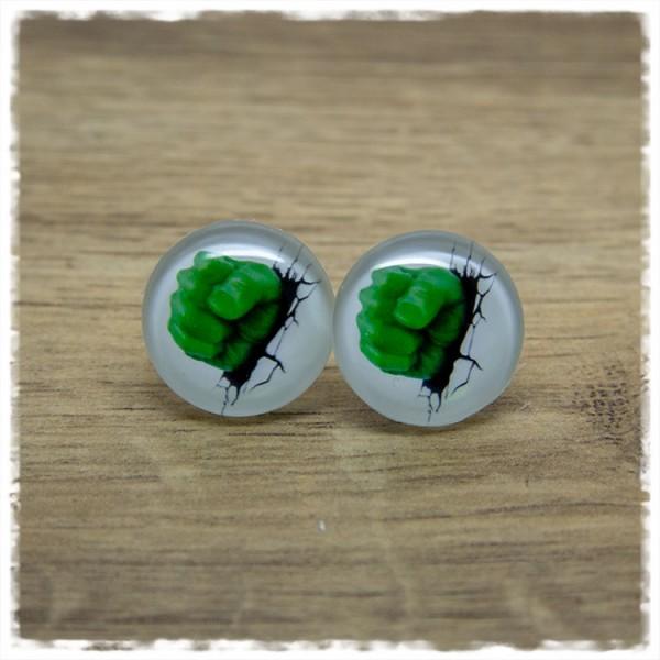 1 Paar Ohrstecker mit grüner Faust