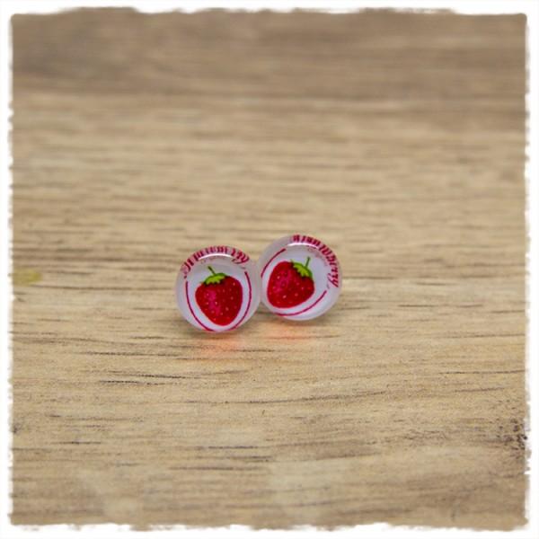 1 Paar Ohrstecker in 10 mm mit Erdbeere