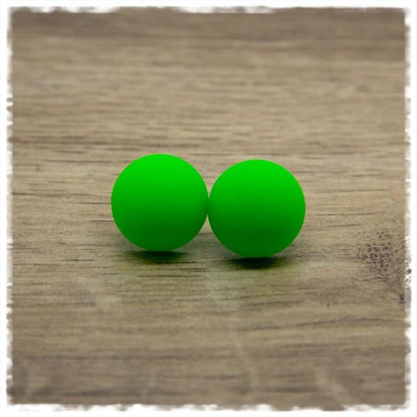 1 Paar Ohrstecker in 16 mm matt grün