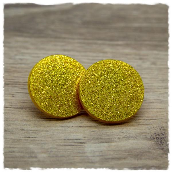 1 Paar flache Glitzerohrstecker 25 mm in goldgelb