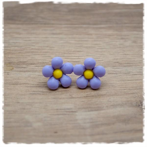 1 Paar Ohrstecker in 14 mm lila Blüte