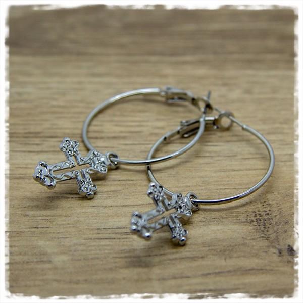 1 Paar Ohrhänger in 30 mm rund silbern mit Kreuz-Anhänger