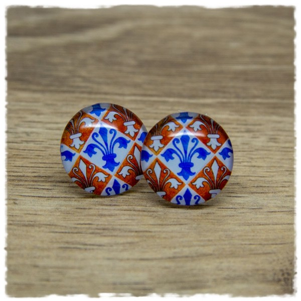 1 Paar Ohrstecker mit orange weiß gemustert mit blauer Blüte