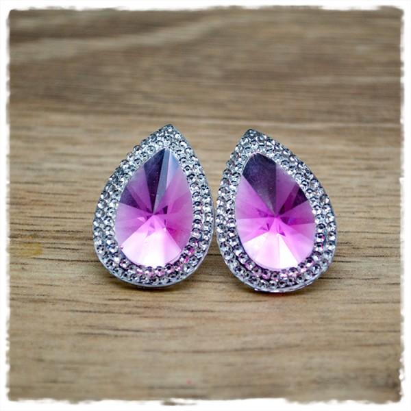 1 Paar Ohrstecker in Tropfenform silber rosa