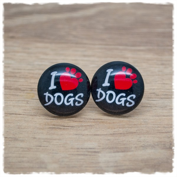 "1 Paar Ohrstecker ""I LOVE DOGS"""