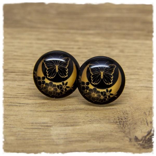 1 Paar Ohrstecker schwarz mit Mond, Blüten und Schmetterling in goldgelb