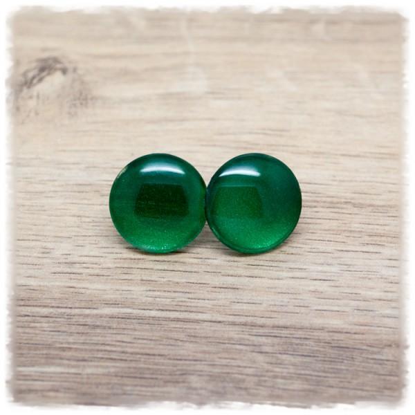 1 Paar Ohrstecker in 12 mm einfarbig dunkelgrün