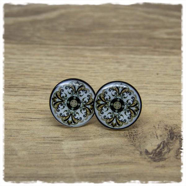 1 Paar Ohrstecker in 20 mm mit grauem Muster auf weißem Hintergrund