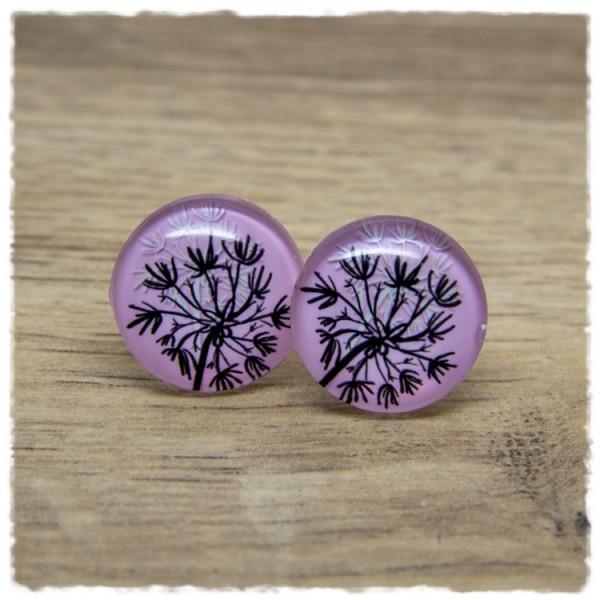 1 Paar Ohrstecker mit Pusteblume auf rosa Hintergrund